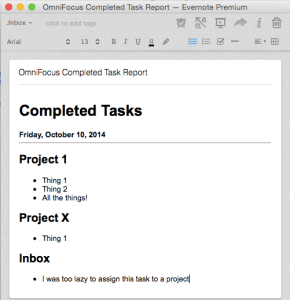 OmniFocus Completed Task Report Imported to Evernote